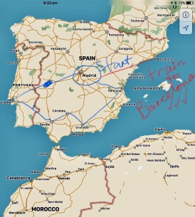 The route we took around Spain...longer stays in Madrid and Barcelona...with fast train trip between those 2 cities - more info in one of my earlier posts.