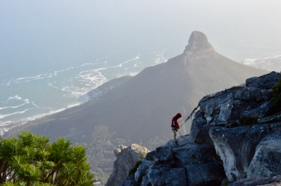 Abseiling at Table Mountain - we watched as he set up