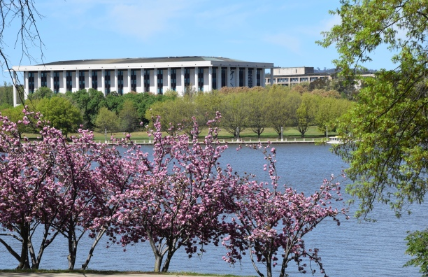 Springtime view across Lake Burley Griffin to National Library