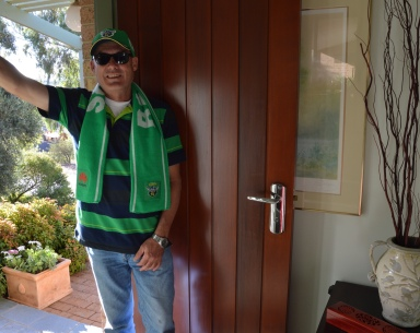 Tony about to depart for a Canberra Raiders' Football game in 2015