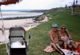 Mum and Dad retired to the Sth Coast (Shell Harbour) - Joel in pram